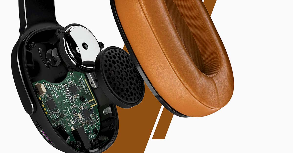 Skullcandy headphones showcasing internal components that provide high-quality sound to consumers.
