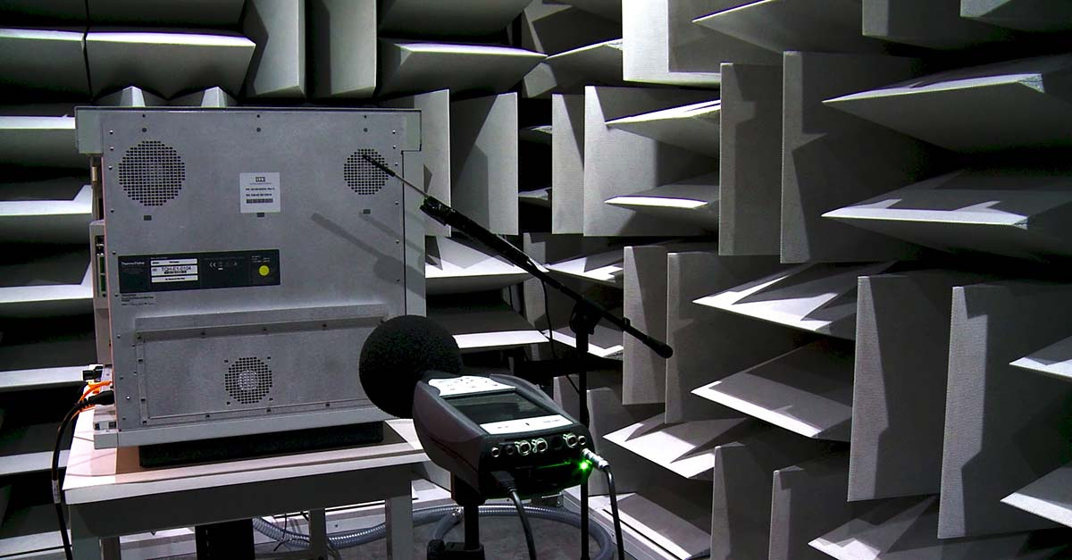 Anechoic chambers test noise and frequency levels for various products including speakers and home appliances. This is a critical piece of audio and acoustics manufacturing.